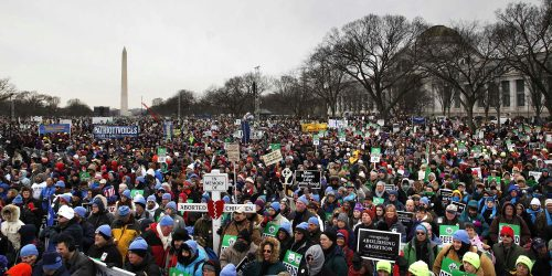 People participate in the annual March for Life rally on the National Mall in Washington